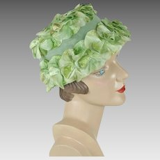 1960s Vintage Hat Celery Green Bucket Style with Silk Petals Sz 21