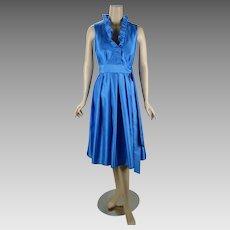 Vintage Party Dress Royal Blue Ruffle Neck by Jessica Howard Sz 12 B40 W32