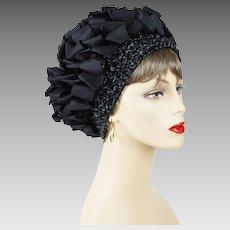 1970s Vintage Hat Black Ribbon and Crochet Turban Sz 23 1/2