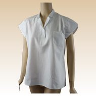 1950s Vintage Ladies White Cotton Broderick Physical Education Athletic Shirt NOS