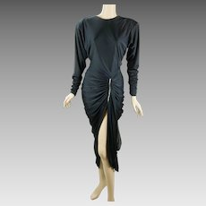 1980s Vintage Disco Party Dress Black Ruched and Draped with Rhinestone Sz 7/8 B36 W26