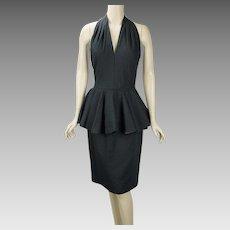 1980s Vintage Party Dress Black Textured Cotton Halter Neck with Peplum Wiggle by A J Bari Sz 10 B38-40 W28