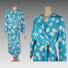 1980s Vintage Dress Powder Blue and White Faux Wrap by Lilli Ann Sz 10