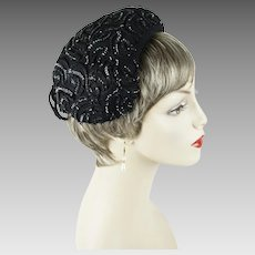 1950s Vintage Hat Black Sequin Tilt Cocktail Beret Sz 22 1/2