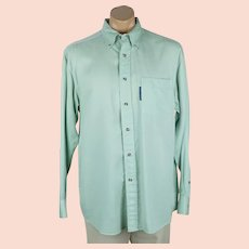 1990s Vintage Mans Shirt Mint Green Tencel by Lyle & Scott NOS with Tags Sz M C48