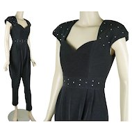 Vintage Formal Rhinestone Black Jumpsuit by Faviana Sz 5/6 B34 W25