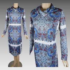426ab5425c0f 1970s Vintage Dress Blue and White Paisley Shift Style by Andrea Gayle -  Lord   Taylor