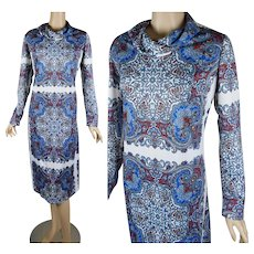 1970s Vintage Dress Blue and White Paisley Shift Style by Andrea Gayle - Lord & Taylor B40 W36