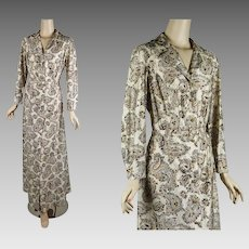 1970s Vintage Dress | Hostess Maxi by Berkshire | Beige and Brown Paisley B40 W38