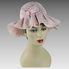 1970s Vintage Hat Pale Pink Floppy Wide Brim with Tags NOS Sz 22