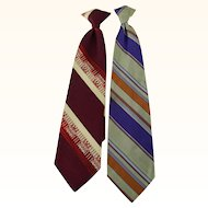 Vintage Clip On Neckties 2 Wide Ties National Shirt Shops