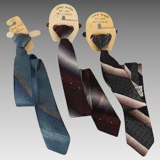 Vintage 1950s Clip On Neckties Ties 3 NOS Skinny Ties