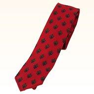 Vintage 1960s Skinny Necktie Tie Dark Red Patterned by Wembley Golden House - Original Box