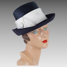 1970s Vintage Hat Navy Blue and White Derby Style by Patrice Sz 21