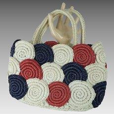 Vintage Red White and Blue Raffia Straw Handbag