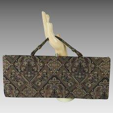 1960s Vintage Handbag Brown Tapestry Envelope Clutch Purse