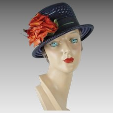 1960s Vintage Hat Navy Blue Sheer Brimmed Cloche with Red Silk Rose Sz 21