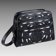 Vintage Tooled Leather Shoulder Handbag Black and White Cutwork Mexico