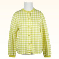 1960s Vintage NOS Sweater Bright Lemon Yellow Gingham Cardigan by Catalina Sportswear Sz L B38