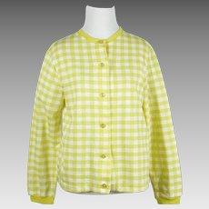 1960s Vintage NOS Sweater Bright Lemon Yellow Gingham Cardigan by Catalina Sportswear Sz L B38