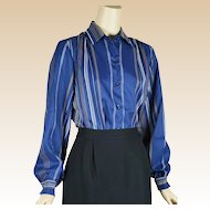 1980s Vintage Blouse New Old Stock Navy Blue Stripe by Cos Cob Sz 15/16 B42