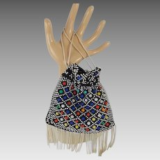 Vintage 1950s Purse Beaded Candy Dot Fringed Tiny Drawstring Handbag