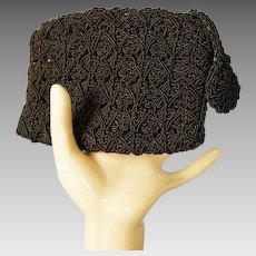 Vintage 1940s Change Purse Brown Gimp Crochet Clutch
