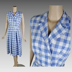 1960s Vintage Dress Blue and White Gingham Sleeveless Casual Summer Frock B38 W28