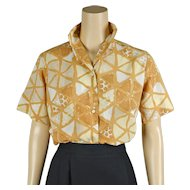 1960s Vintage Blouse Butterscotch Abstract Pattern Nylon Shirt by Majestic Sz 34 B38