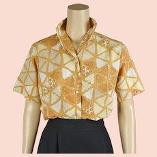 1960s Vintage Blouse Butterscotch Abstract Pattern Nylon Shirt by Majestic Sz 34 B38