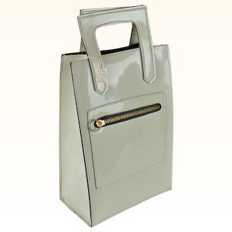 1960s Vintage Tote Beige Patent Oversized Carry Bag NOS