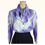 1970s Vintage Blouse Purple and White Abstract by Alex Colman Sz 16 B40