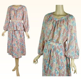 1970s Vintage Dress 2 Piece Peasant Blouse and Skirt Floral Cotton Gauze | Crackers by Graham