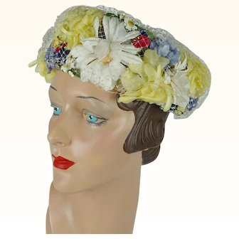 1960s Vintage Hat Open Crown Wreath of Flowers Yellow and White by Rawak Sz 21