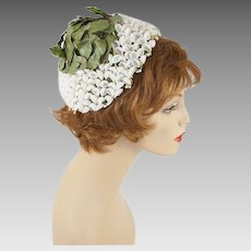 1960s Vintage Hat Cone Style with White Lily of the Valley and Green Petals