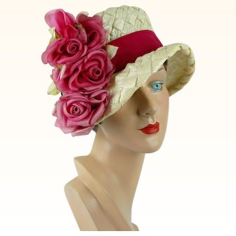 1960s Vintage Hat Ivory Cello Brimmed Cloche with Pink Silk Flowers by Mr Joseph Sz 21 1/2