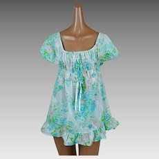 1970s Vintage Baby Doll Pajamas Floral Cotton Shortie PJs NOS Sz L