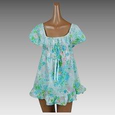 1970s Vintage Babydoll Pajamas Floral Cotton Shortie PJs NOS Sz L