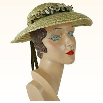 1960s Vintage Hat Natural Straw Wide Brim by Mr John Deb-Teen Sz 20