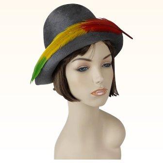 1970s Vintage Hat Gray Fur Felt Brimmed Cloche by Adolfo Realites Sz S - M