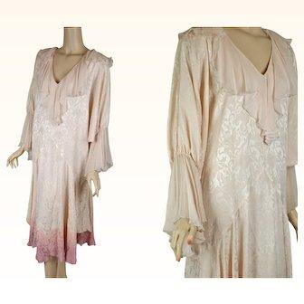 1980s Vintage Dress Pale Pink Silk 80s Does 20s Flapper Style by Sondro SZ L - XL