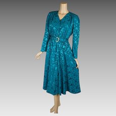 1980s Vintage Dress NOS Teal Shirtwaist with Pockets by Leslie Fay Sz 10 B44