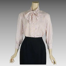 1970s Vintage Blouse Polka Dot with Bow by Sportempos Sz 15/16 B42