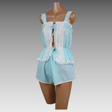 1970s Vintage Babydoll Pajamas Blue and White Cotton Shortie PJs NOS Sz L