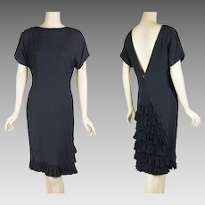 1980s Vintage Dress Black Form Fitting with Ruffled Back B36 W30