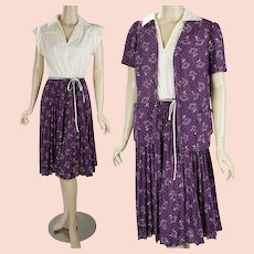 1970s Vintage Dress Purple and Cream Crystal Pleated Skirt with Jacket by Queens Row Sz 18 1/2 B40