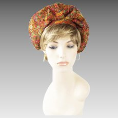 1970s Vintage Hat Gold Paisley Banded Beret Sz 22