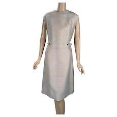 1960s Vintage Dress Beige Silk / Wool Shift Style by L'Aiglon XL B40 W32 - Red Tag Sale Item