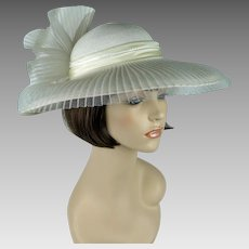 Vintage Hat White Wide Brim with Extreme Bow Church Lady by Sylvia Sz 21 1/2