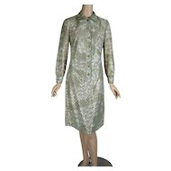 1970s Vintage Dress Gold and Green Shift Style B39 W32